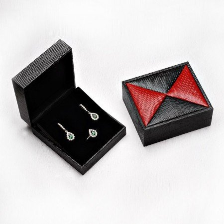 Kırmızı-Siyah Renk Deri Set Kutusu - Thumbnail