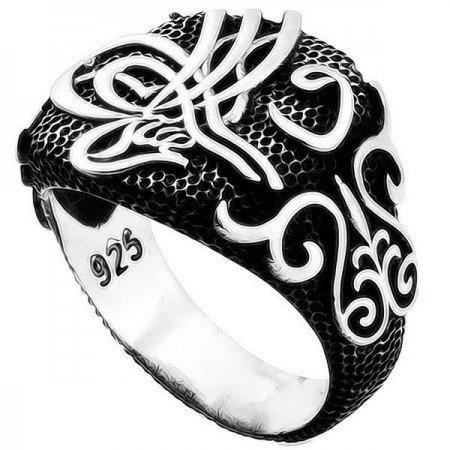 Dersaadet - 925 Ayar Gümüş Tuğra Vav Yüzük - Thumbnail