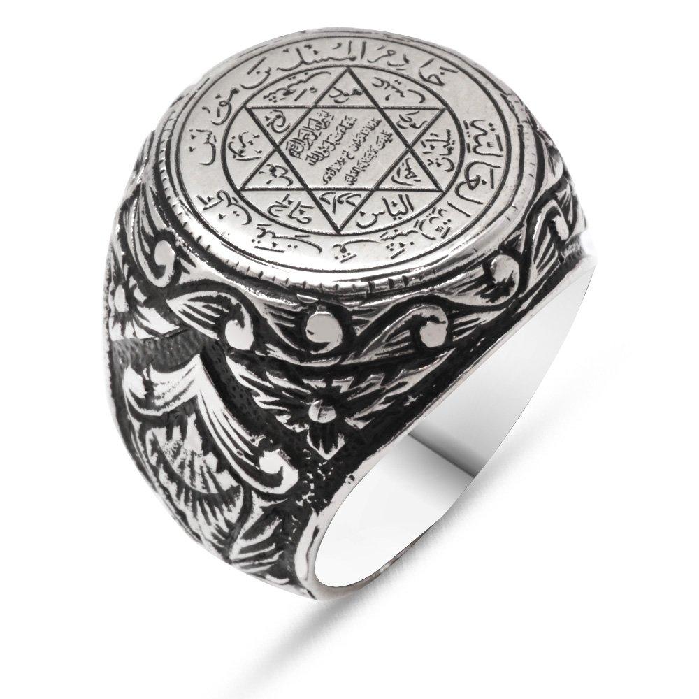 Desenli Süleyman Mühür Motifli 925 Ayar Gümüş Erkek Yüzük