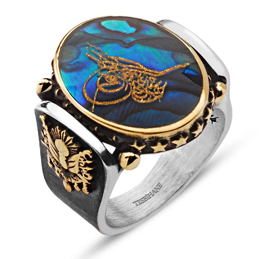 Devlet Armalı Okyanus Sedefi Üzerine Altın Varaklı Gümüş Yüzük