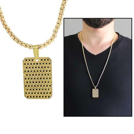 Dikdörtgen Tasarım Siyah Zirkon Taşlı Gold Renk Zincir Pirinç Kolye - Thumbnail