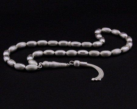 Kalem İşçilikli Arpa Kesim 925 Ayar Gümüş Tesbih (M-2) - Thumbnail