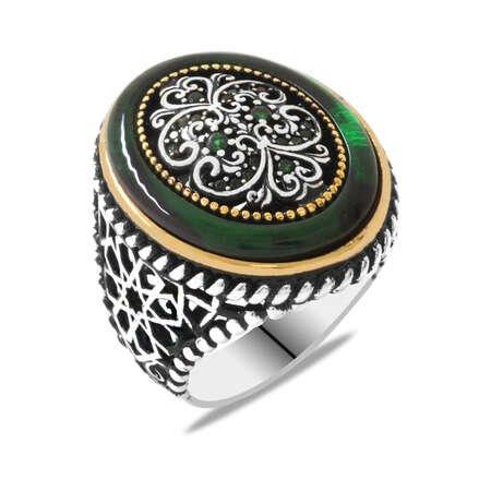 Dış Halka Yeşil Ateş Kehribar İç Dekor Zirkon Taş Bezeli 925 Ayar Gümüş Erkek Yüzük - Thumbnail