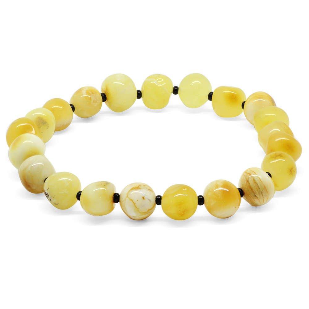 Açık Sarı Doğal Damla Kehribar Erkek Bileklik