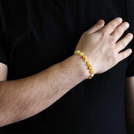 Açık Sarı Doğal Damla Kehribar Erkek Bileklik - Thumbnail