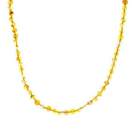 Açık Sarı Doğal Damla Kehribar Kadın Kolye - Thumbnail