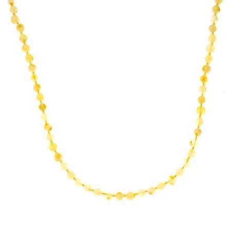 Açık Sarı Şeffaf Doğal Damla Kehribar Kadın Kolye - Thumbnail