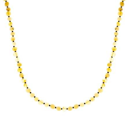 Doğal Form Mat Sarı Renk Doğal Damla Kehribar Bayan Kolye - Thumbnail