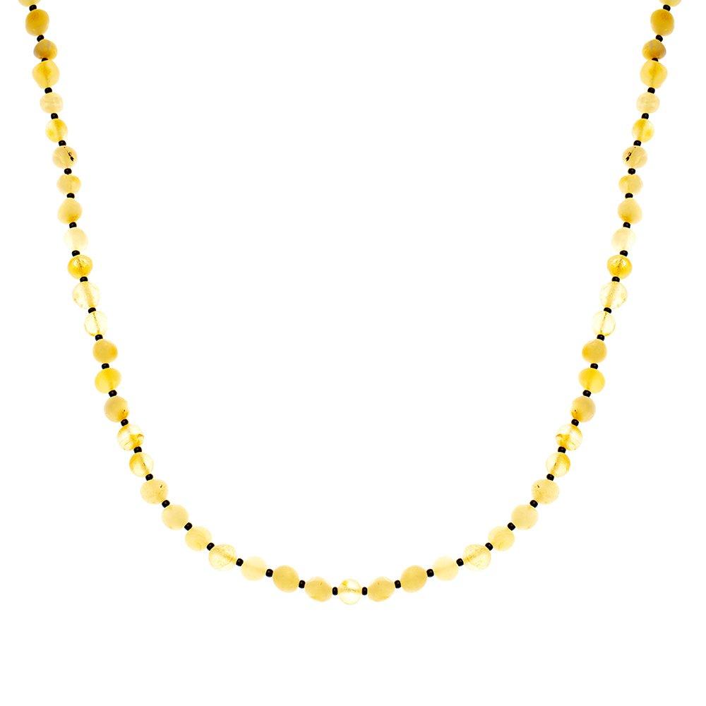 Doğal Form Mat Sarı Renk Doğal Damla Kehribar Bayan Kolye