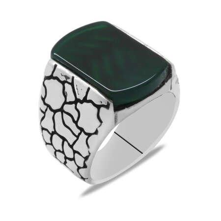 Dörtgen Tasarım Yeşil Akik Taşlı 925 Ayar Gümüş Erkek Yüzük - Thumbnail