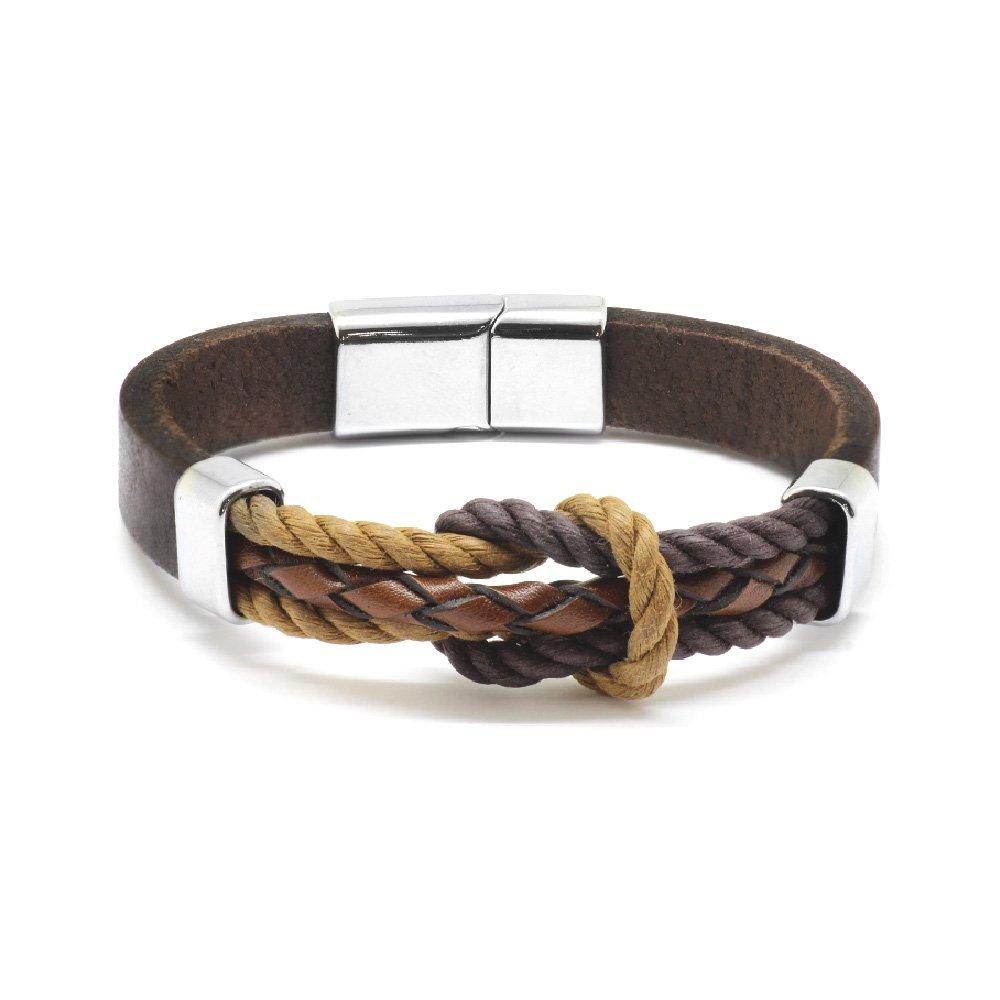 Düğüm Tasarım Kahverengi Deri-Çelik Kombinli Erkek Bileklik