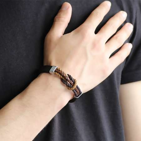 Düğüm Tasarım Kahverengi Deri-Çelik Kombinli Erkek Bileklik - Thumbnail