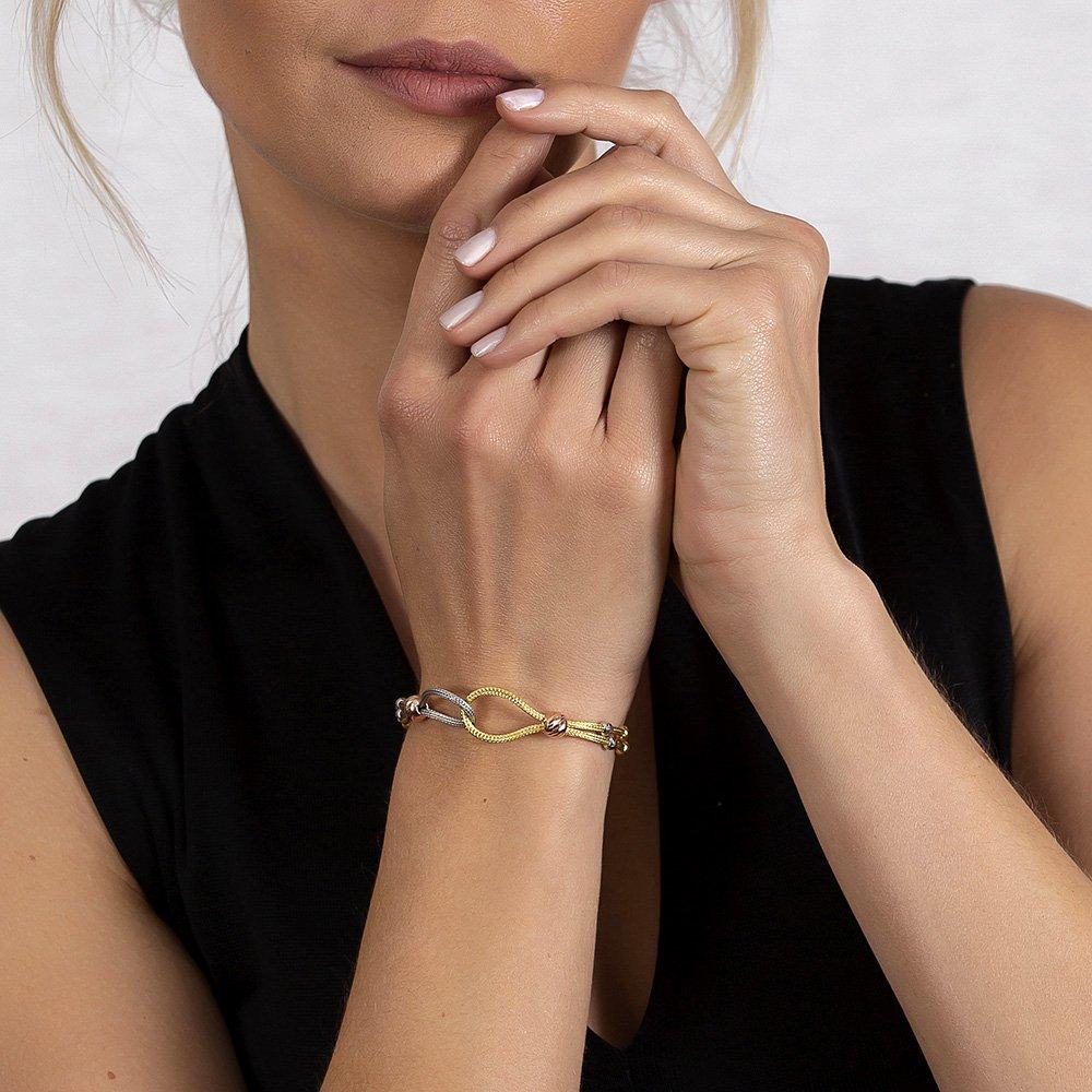 Düğüm Tasarım Silver-Gold Renk 925 Ayar Gümüş Dorika Kadın Bileklik