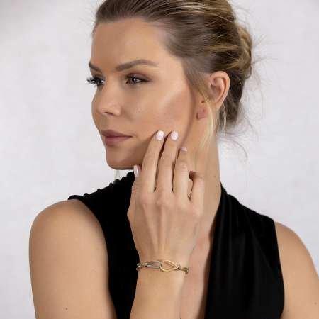 Düğüm Tasarım Silver-Gold Renk 925 Ayar Gümüş Dorika Kadın Bileklik - Thumbnail