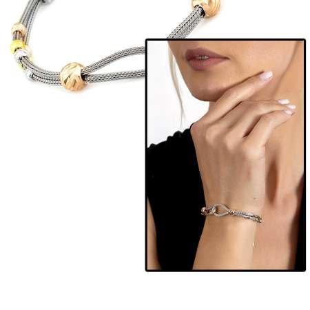 Düğüm Tasarım Silver Renk 925 Ayar Gümüş Dorika Kadın Bileklik - Thumbnail