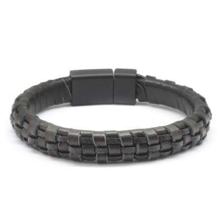 Düz Örgü Tasarım Siyah Deri-Çelik Kombinli Erkek Bileklik - Thumbnail
