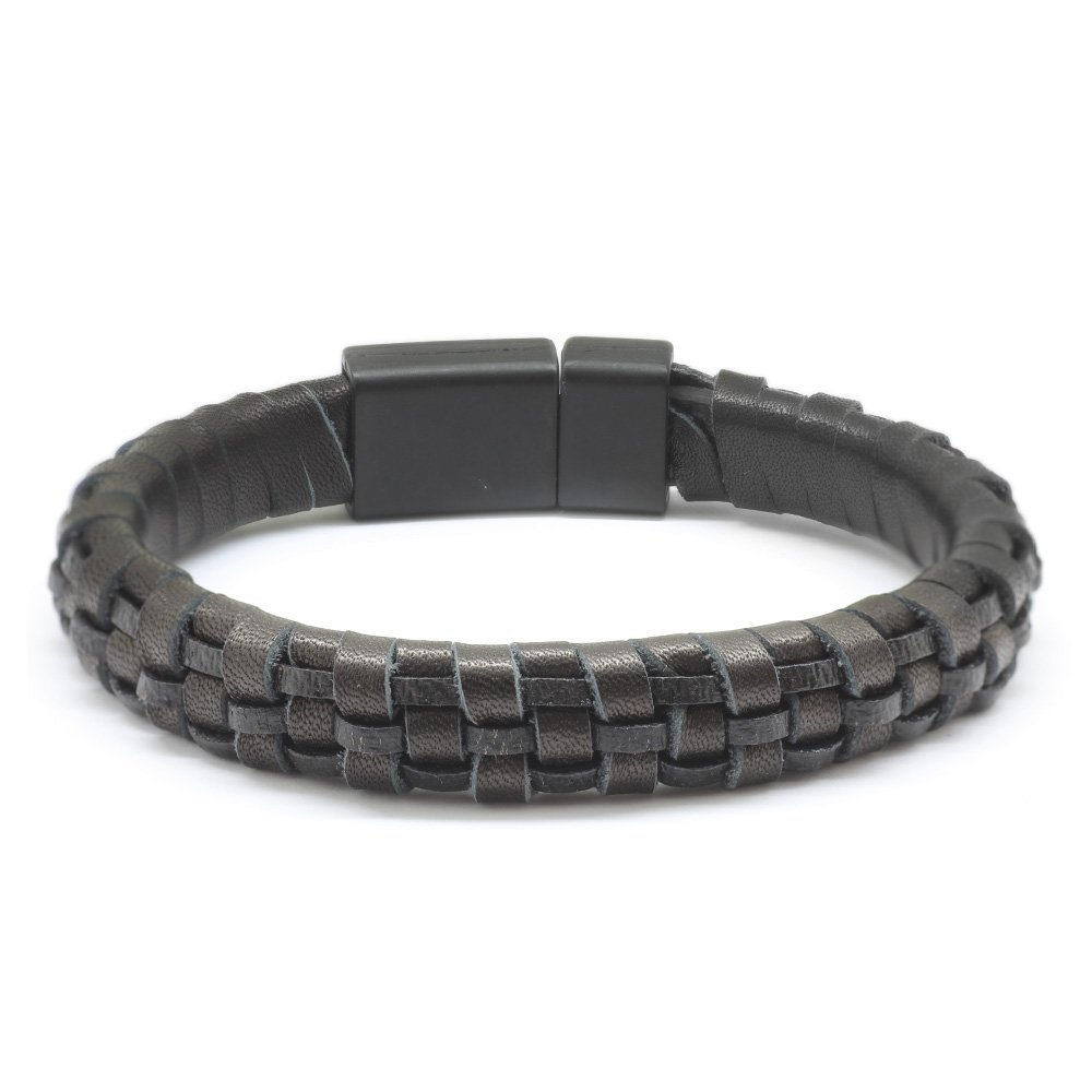 Düz Örgü Tasarım Siyah Deri-Çelik Kombinli Erkek Bileklik