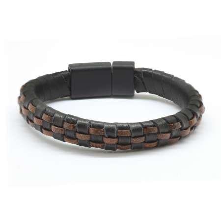 Düz Örgü Tasarım Siyah-Kahverengi Deri-Çelik Kombinli Erkek Bileklik - Thumbnail