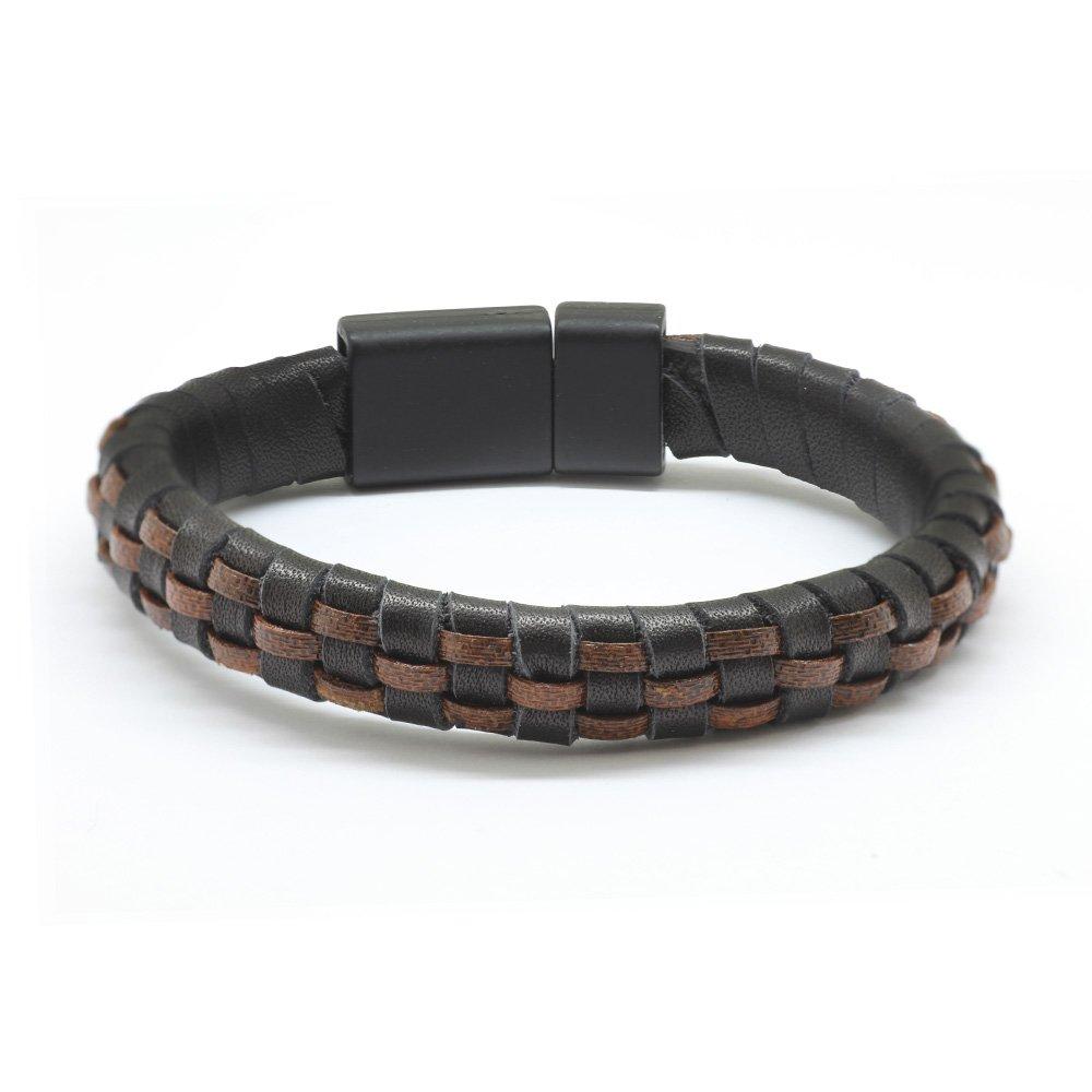 Düz Örgü Tasarım Siyah-Kahverengi Deri-Çelik Kombinli Erkek Bileklik