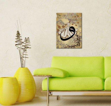 Ebru Sanatı Üzerine Vav Yazılı Semazen Kanvas Tablo - Thumbnail