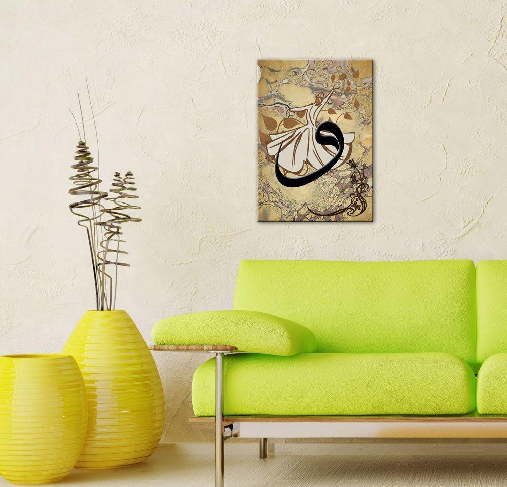Ebru Sanatı Üzerine Vav Yazılı Semazen Kanvas Tablo