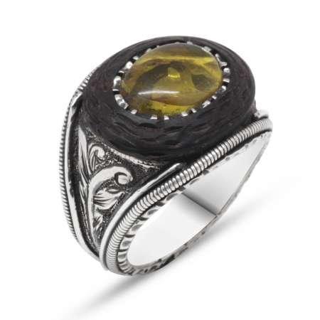 El İşçiliği Abanoz ve Sarı Damla Kehribar Taşlı 925 Ayar Gümüş Erkek Yüzük (M-1) - Thumbnail