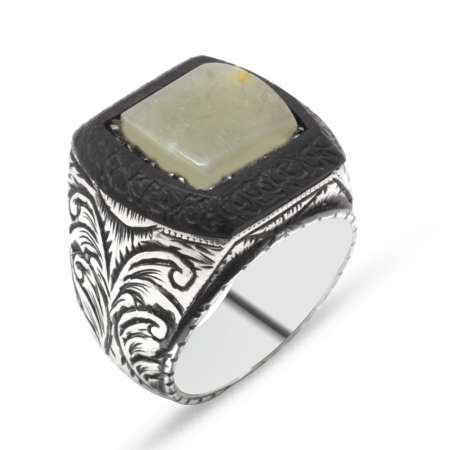 El İşçiliği Abanoz ve Sarı Damla Kehribar Taşlı 925 Ayar Gümüş Erkek Yüzük (M-2) - Thumbnail
