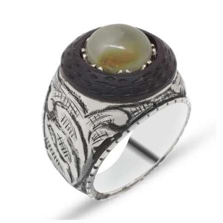 El İşçiliği Abanoz ve Sarı Damla Kehribar Taşlı 925 Ayar Gümüş Erkek Yüzük (M-3) - Thumbnail