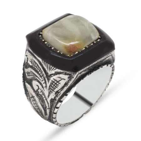 El İşçiliği Abanoz ve Sarı Damla Kehribar Taşlı 925 Ayar Gümüş Erkek Yüzük (M-5) - Thumbnail