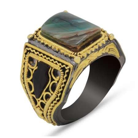 El İşçiliği Abanoz ve Yeşil Sıkma Kehribar Taşlı 925 Ayar Gümüş Erkek Yüzük - Thumbnail