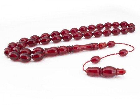 El İşçiliği Arpa Kesim Kırmızı Renk Sıkma Kehribar Tesbih - Thumbnail