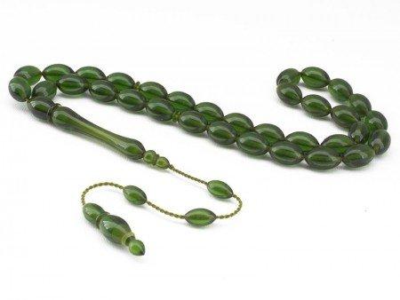 El İşçiliği Arpa Kesim Yeşil Sıkma Kehribar Tesbih - Thumbnail