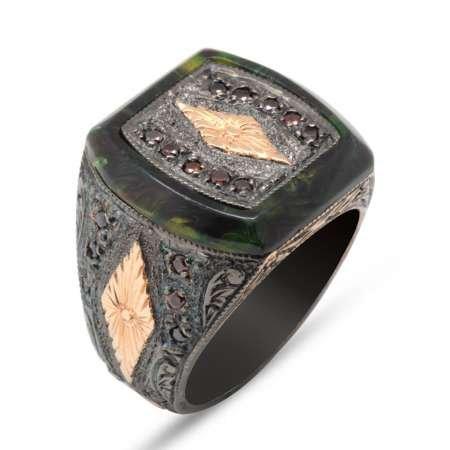 El İşçiliği Baklava Desen Yeşil Sıkma Kehribar Taşlı 925 Ayar Gümüş Erkek Yüzük - Thumbnail