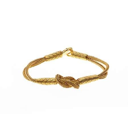 El İşçiliği Düğüm Tasarım Gold Renk 1000 Ayar Gümüş Kazaz Bileklik - Thumbnail