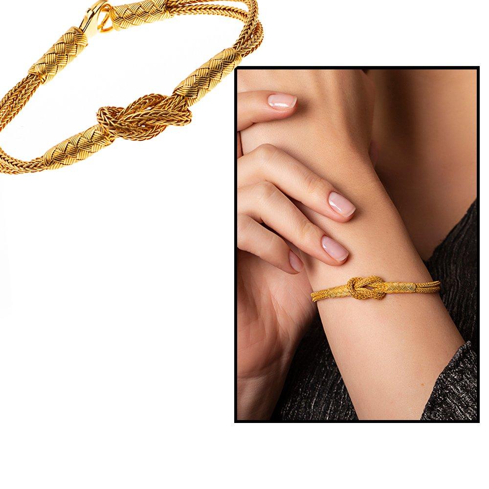 El İşçiliği Düğüm Tasarım Gold Renk 1000 Ayar Gümüş Kazaz Bileklik