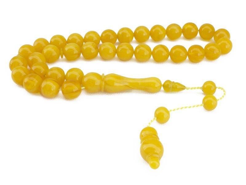 El İşçiliği Küre Kesim Sarı Sıkma Kehribar Tesbih