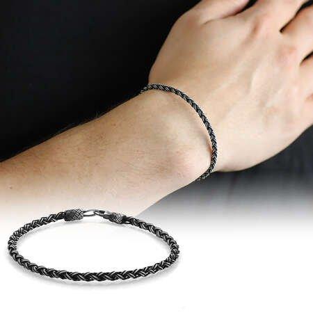El İşçiliği Örgü Tasarım Oval Form 1000 Ayar Gümüş Kazaz Unisex Bileklik - Thumbnail