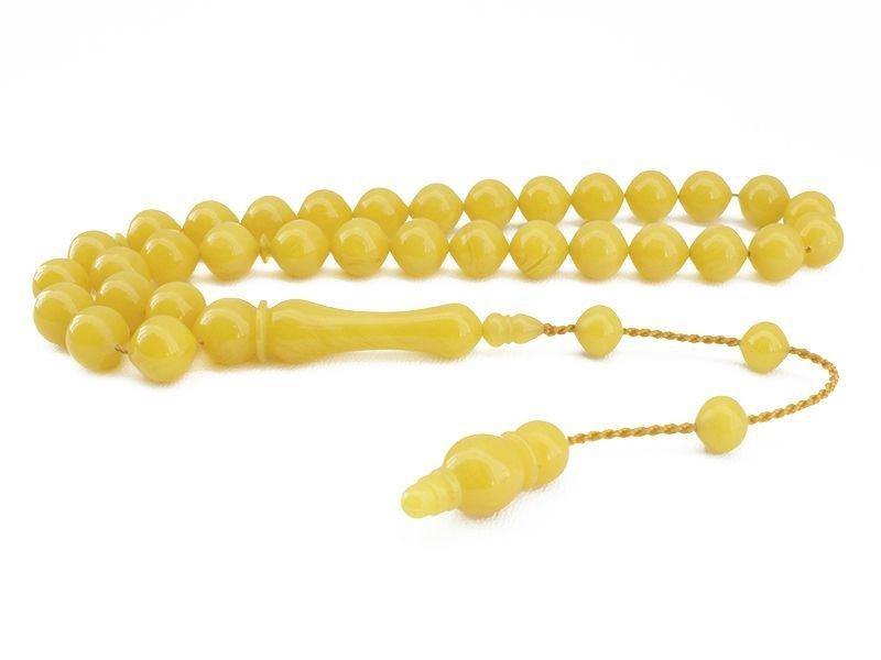El İşçiliği Sarı Sıkma Kehribar Tesbih
