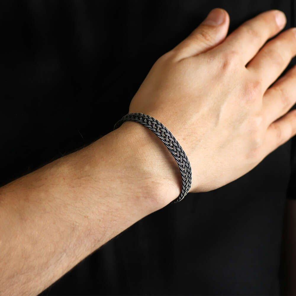El İşçiliği Saten Örgülü 1000 Ayar Gümüş Kazaz Bileklik