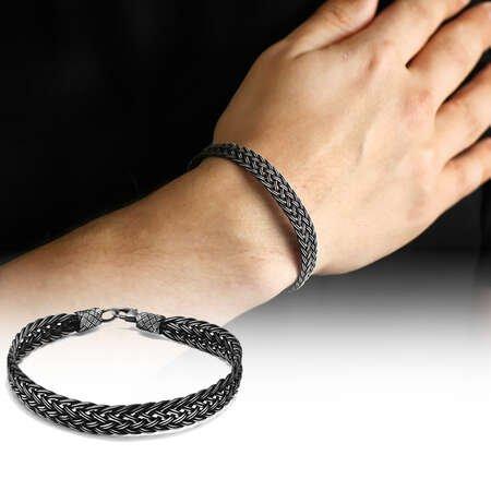 El İşçiliği Saten Örgülü 1000 Ayar Gümüş Kazaz Bileklik - Thumbnail