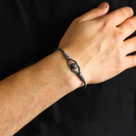 El İşçiliği Şık Tasarım 1000 Ayar Gümüş Kazaz Bileklik - Thumbnail