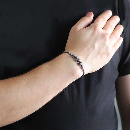 El İşçiliği Sıralı Küre Tasarım 1000 Ayar Gümüş Kazaz Bileklik - Thumbnail