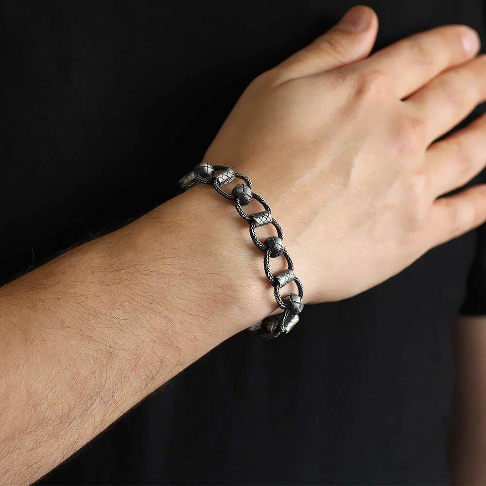 El İşçiliği Zincir Örgülü 1000 Ayar Gümüş Kazaz Bileklik