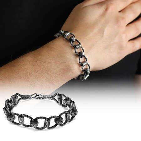El İşçiliği Zincir Örgülü 1000 Ayar Gümüş Kazaz Bileklik - Thumbnail