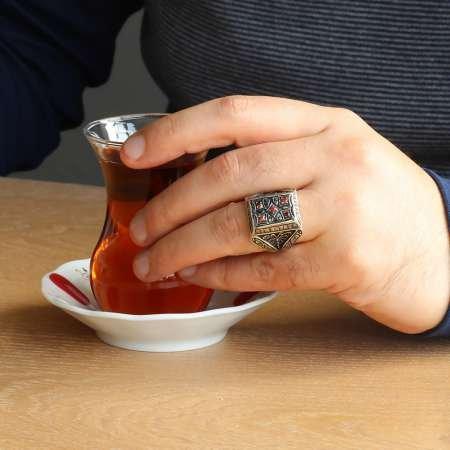 El İşlemeli Kırmızı Zirkon Taşlı 925 Ayar Gümüş Erkek Yüzük - Thumbnail