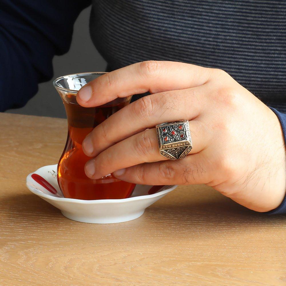 El İşlemeli Kırmızı Zirkon Taşlı 925 Ayar Gümüş Erkek Yüzük