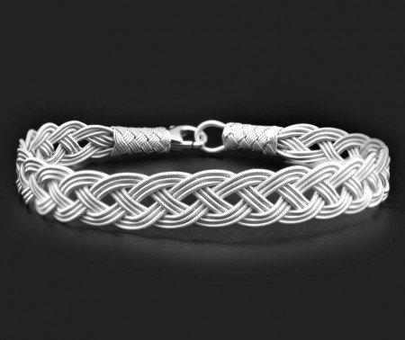 El İşçiliği Gümüş Renk 1000 Ayar Gümüş Kazaz Bileklik - Thumbnail