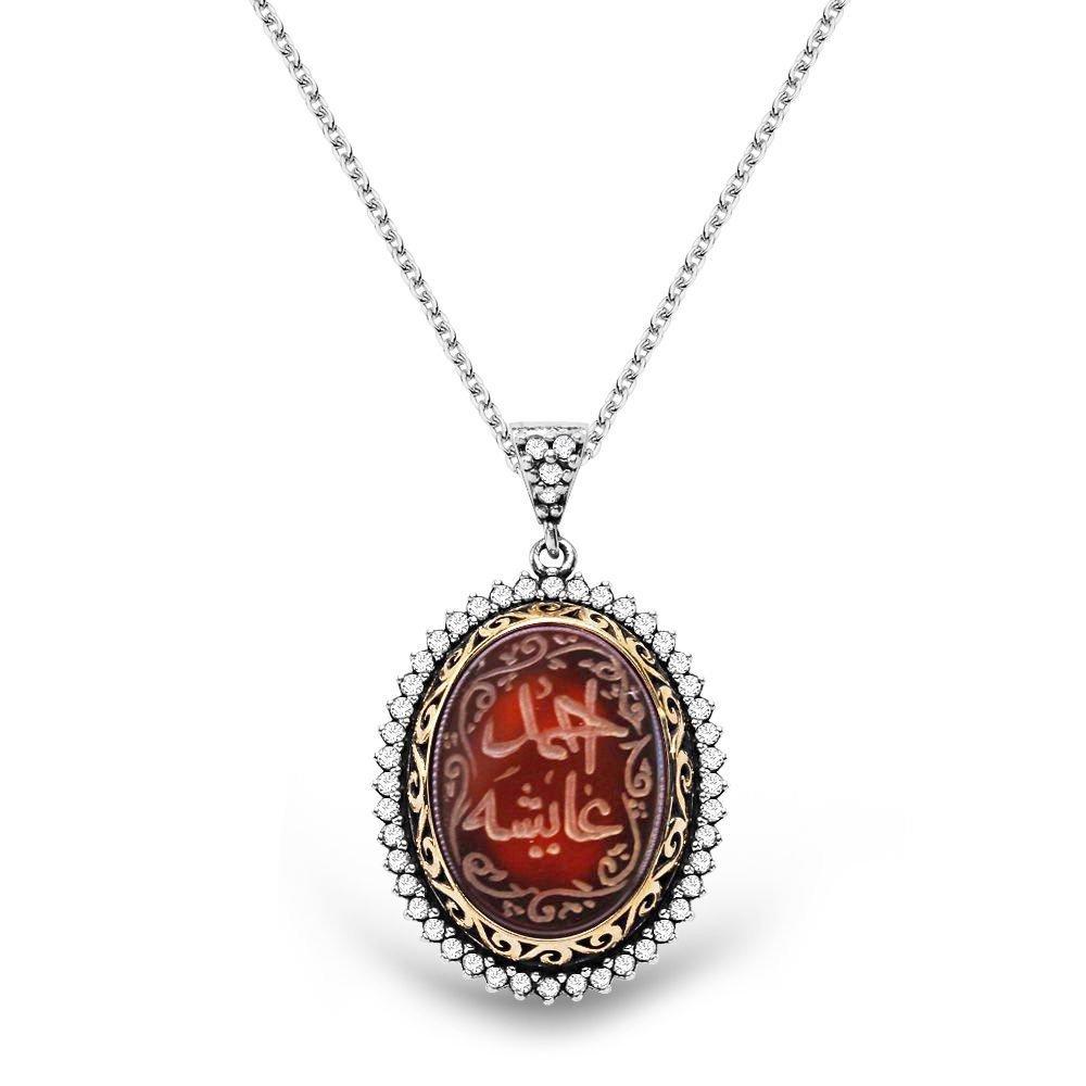 Akik Taşlı Kişiye Özel Arapça El Yazılı 925 Ayar Gümüş Bayan Kolye