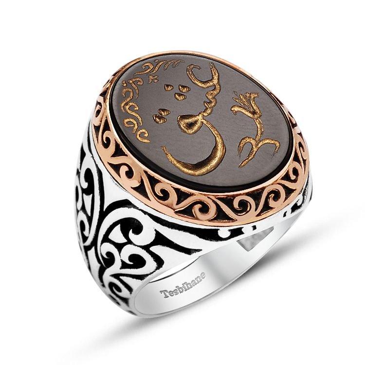 El Yazması Aşk Yazılı Özel Tasarım Oniks Taşlı Gümüş Yüzük