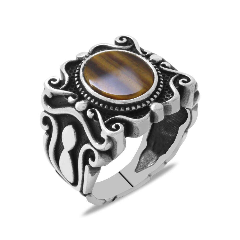 Elegance Tasarım Kaplangözü Taşlı 925 Ayar Gümüş Erkek Yüzük